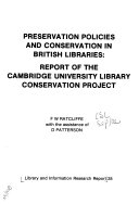 Preservation Policies and Conservation in British Libraries Book