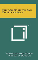 Freedom of Speech and Press in America Book PDF