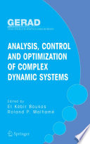 Analysis  Control and Optimization of Complex Dynamic Systems