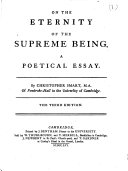 On the eternity of the Supreme Being: a poetical essay