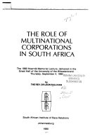 The Role of Multinational Corporations in South Africa