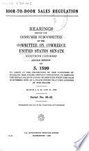 Door To Door Sales Regulation Hearings Before The Consumer Substation 90 2 On S 1599 March 4 5 20 21 1968