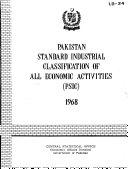 Pakistan Standard Industrial Classification Of All Economic Activities Psic 1968
