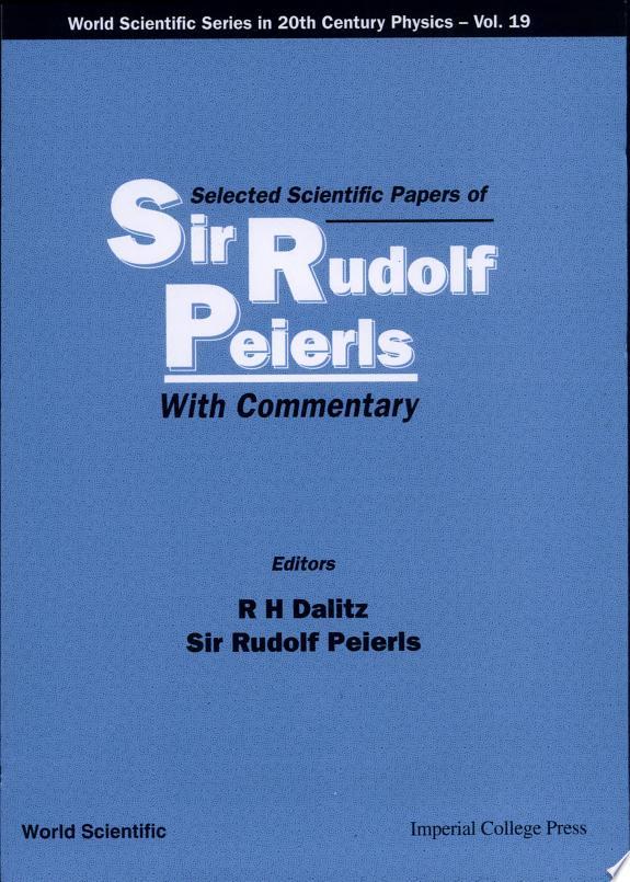 Selected Scientific Papers of Sir R