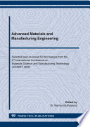 Advanced Materials and Manufacturing Engineering Book