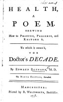 Health, a poem ... To which is annexed, The doctor's decade. The sixth edition ebook