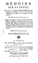 Mémoire sur la peste dans la Russie en 1771