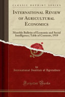 International Review Of Agricultural Economics