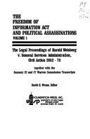 The Legal Proceedings of Harold Weisberg V  General Services Administration  Civil Action 2052 73