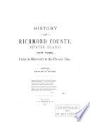 History of Richmond County (Staten Island), New York Pdf/ePub eBook