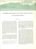 Watershed Management in the Rocky Mountain Alpine and Subalpine Zones