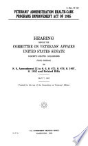 Veterans' Administration Health-Care Programs Improvement Act of 1985