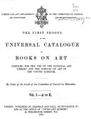First Proofs Of The Universal Catalogue Of Books On Art