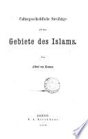 Culturgeschichtliche Streifzüge auf dem Gebiete des Islams