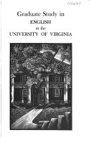 Graduate Study in English at the University of Virginia