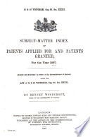 Subject matter Index of Patents Applied for and Patents Granted