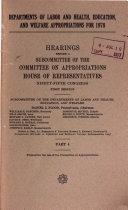 Hearings Before a Sumcommittee of the Committee on Appropriations