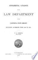 Supplemental Catalogue of the Law Department of the California State Library