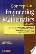 Concepts Of Engg. Mathematics Vol-I For Be/B.Tech.