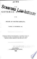 Acts Of The General Assembly Of South Carolina
