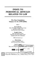 Index to Periodical Articles Related to Law