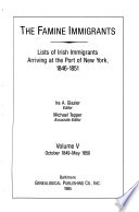 The Famine Immigrants: October 1849-May 1850