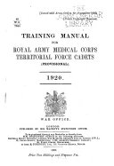 Training Manual for Royal Army Medical Corps Territorial Force Cadets  Provisional