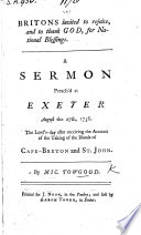 Britons invited to rejoice  and to thank God  for national blessings  A sermon  on Ps  cxviii  27  preached     after receiving the account of the taking of the Islands of Cape Breton and St  John