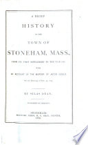 A Brief History Of The Town Of Stoneham Mass Book PDF