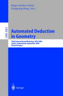 Automated Deduction in Geometry