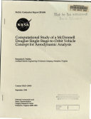 Computational Study of a McDonnell Douglas Single Stage to Orbit Vehicle Concept for Aerodynamic Analysis