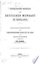Lexikalische Beiträge zur deutschen Mundart in Estland