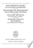 Great Books of the Western World: Euclid. Archimedes. Appollonius of Perga. Nicomachus