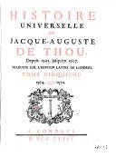 Histoire Universelle de Jacque Auguste De Chow, 5