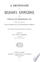 A Dictionary of Religious Knowledge Book PDF