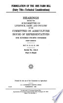 Formulation of the 1995 Farm Bill  Dairy title  technical considerations Book PDF