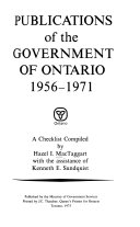 Publications of the Government of Ontario  1956 1971