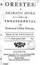 Pdf Orestes: a Dramatic Opera