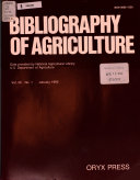 Bibliography of Agriculture with Subject Index Book