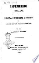 Effemeridi Italiane : principali invenzioni e scoperte e fatti più importanti della famiglia Bonaparte