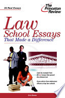 """""""Law School Essays that Made a Difference"""" by Eric Owens, Princeton Review (Firm)"""
