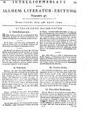 Intelligenzblatt der Allgemeinen Literatur-Zeitung vom Jahre 1797