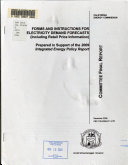 Forms and Instructions for Electricity Demand Forecasts  including Retail Price Information