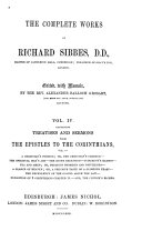 The Complete Works of Richard Sibbes  D D   A Christian s portion  or  the Christian s charter