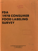 FDA 1978 Consumer Food Labeling Survey