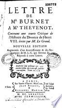 Lettre De Mr Burnet A Mr Thevenot Contenant Une Courte Critique De