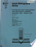 Integrated pest management and biological control  January 1985   March 1987 Book