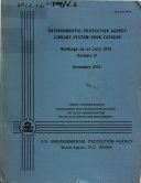 U S  Environmental Protection Agency Library System Book Catalog