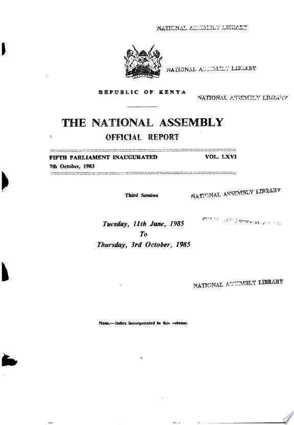 Kenya National Assembly Official Record (Hansard)