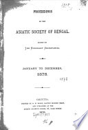 Proceedings of the Asiatic Society of Bengal Book